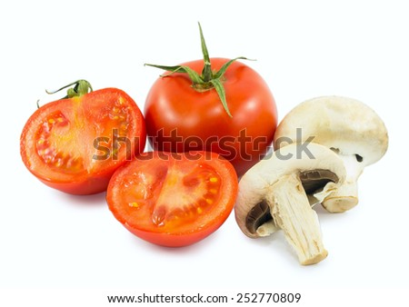 tomatoes and mushrooms isolated on white background - stock photo