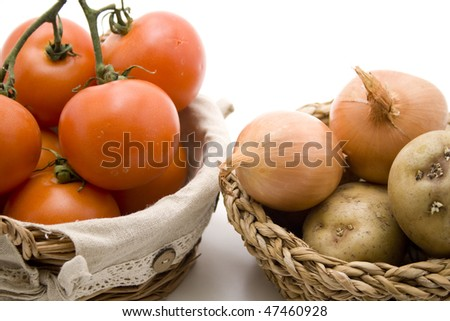 Tomatoes and onions - stock photo