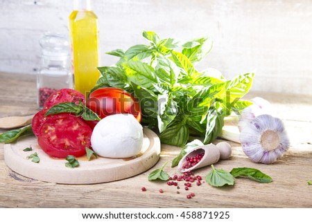 Tomatoes, basil and mozzarella