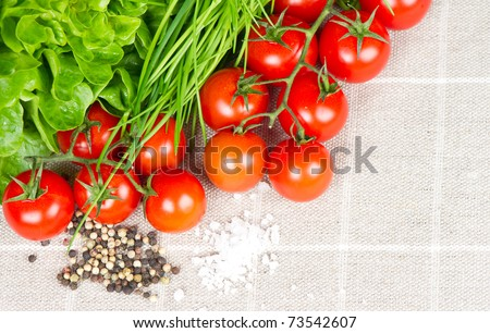 tomatoes, chives and spices