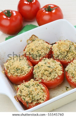 Tomatoes filled with breadcrumbs and herbs