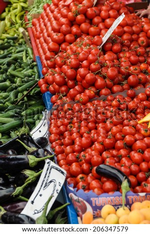 Tomatoes for sale   at the weekly market  in Canakkale,  Turkey