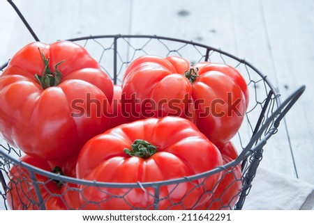 Tomatoes in a Basket - stock photo