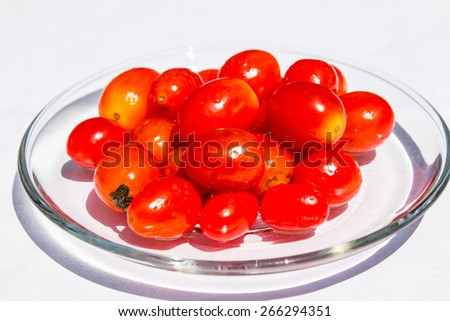Tomatoes in a glass dish