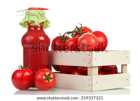 Tomatoes in wooden crate on white background - stock photo
