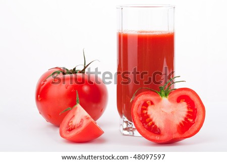 tomatoes isolated on white background and tomato juice in glass