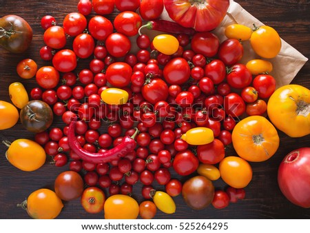 Tomatoes of different varieties. Colorful tomatoes Tomatoes background. Fresh tomatoes Healthy food concept. Colorful festive still life. Loosely laid tomatoes in different positions.