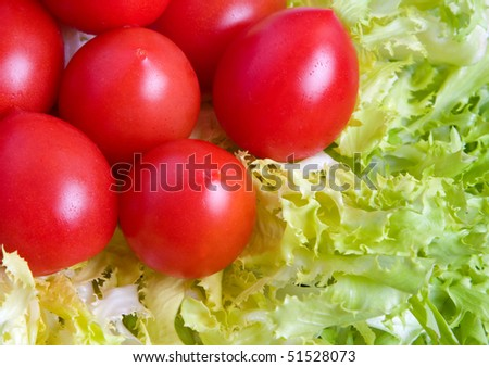 tomatoes on a bed of salad
