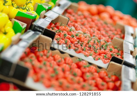 tomatoes on the shelf in the supermarket - stock photo