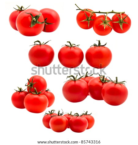 Tomatoes on white background - stock photo