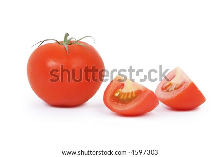 Tomatoes, one whole and two parts. Isolated on white. - stock photo
