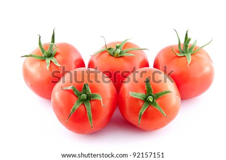 tomatoes over a white background
