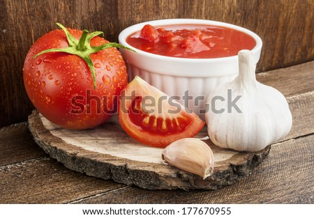 Tomatoes paste with spices  - stock photo
