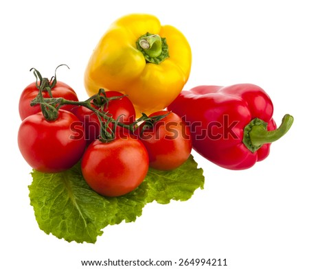 tomatoes, peppers and lettuce on white background - stock photo