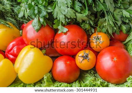 Tomatoes, peppers, salad and parsley