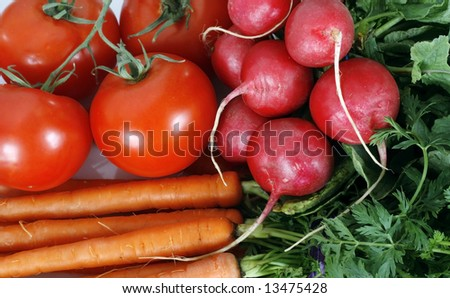 tomatoes, radishes and carrots