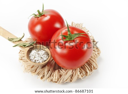 tomatoes, salt, dried basil - stock photo