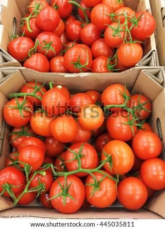 Tomatoes. Tomatoes background. many tomatoes. Tomatoes harvest. Tomatoes in the craft box.  - stock photo