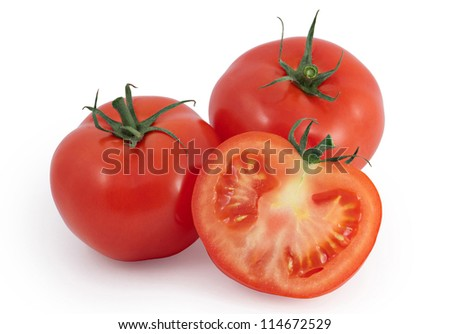 Tomatoes - two and a half isolated on white