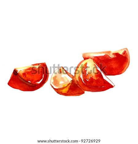tomatoes. watercolor painting on white background - stock photo