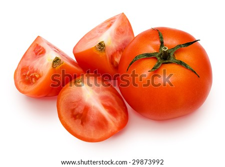 Tomatoes: whole and cut. Carefully isolated on a white background. - stock photo