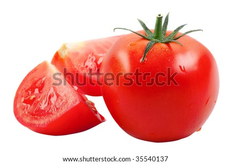 Tomatoes: whole and cut. isolated on a white background. - stock photo