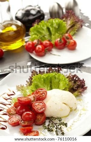 tomatoes with mozzarella - stock photo