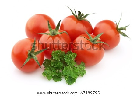 Tomatoes with parsley on a white background - stock photo
