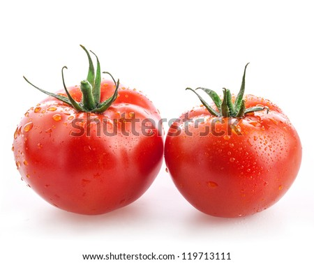 Tomatoes with water drops isolated on white background - stock photo