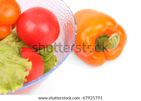 Tomatos, lettuce and bread isolated on white background - stock photo