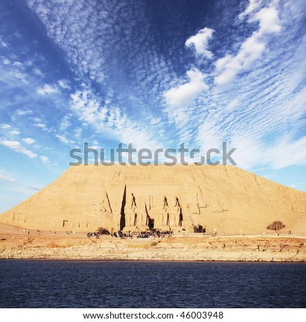 tomb in Abu-Simbel, Egypt - stock photo