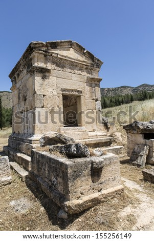 Tomb in northern necropolis of Hierapolis, Denizli, Turkey. Hierapolis was an ancient Greco-Roman city in Phrygia.