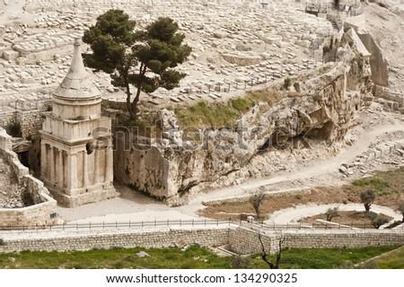 Tomb of  Absalom in Jerusalem, Israel - stock photo
