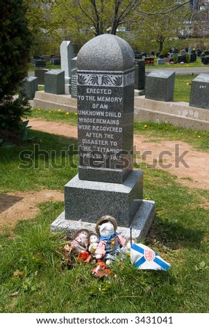 Tomb of an unknown child victim of the HMS Titanic. - stock photo
