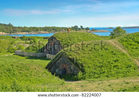 Tomb of Augustin at the Great Courtyard of the Suomenlinna Sea Fortress in Helsinki - stock photo