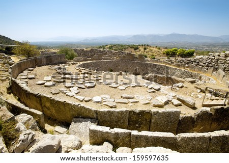 Tomb of the Kings, ancient Mycenae in Greece - stock photo