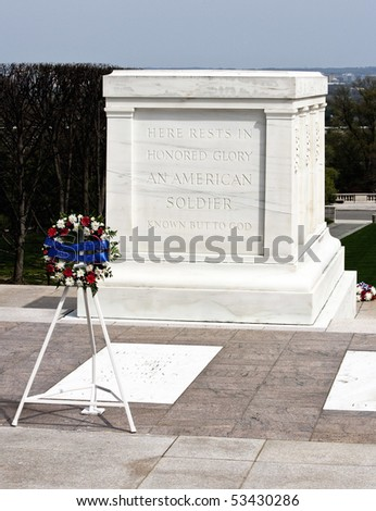 Tomb of the unknown soldier Arlington cemetery with reef of remembrance - stock photo