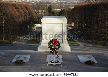 Tomb of the Unknown Soldier, Arlington National Cemetery. - stock photo