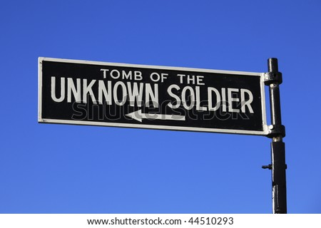 Tomb of the Unknown Soldier sign at Arlington National Cemetery, USA. - stock photo