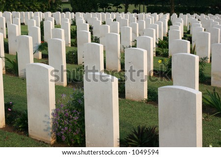 tomb stones at Kranji war memorial for those who died in World War II, singapore - stock photo