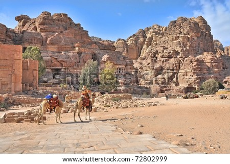 tombs and carved structures in Petra, Jordan. Note Camel shaped mountain tops - stock photo