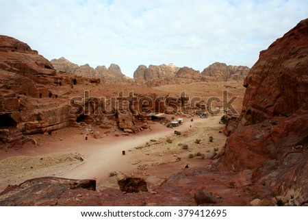 Tombs carved into the red sandstone in Petra, Jordan  - stock photo