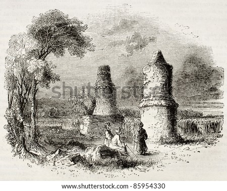 Tombs near Tartous, old view, Syria. By unidentified author, published on Magasin Pittoresque, Paris, 1842 - stock photo