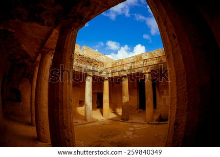 Tombs of the Kings, a famous tourist destination. Paphos district, Cyprus. - stock photo