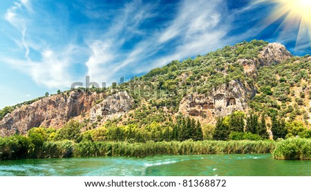 Tombs of the Lycian near the Dalyan river. - stock photo