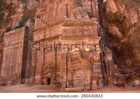 "Tombs that are called ""The street of facades"" in Petra in Jordan - stock photo"