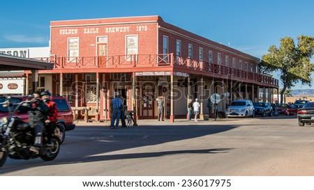 TOMBSTONE, ARIZONA - NOV 15, 2014: The historic Crystal Palace Saloon in downtown Tombstone, Arizona. - stock photo