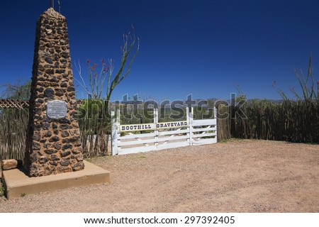 Tombstone, Arizona, USA, April 6, 2015, Boot Hill Cemetery, old western town home of Doc Holliday and Wyatt Earp and Gunfight at the O.K. Corral - stock photo