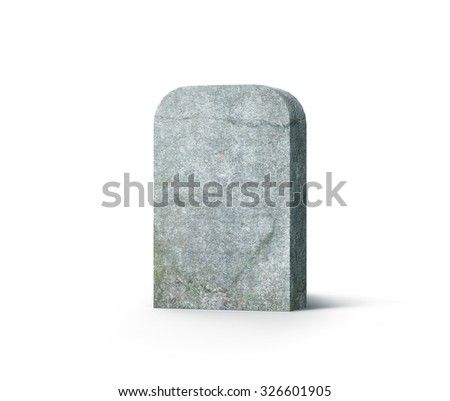 Tombstone 3d realistic render isolated on white background - stock photo
