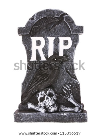 Tombstone isolated on white background - stock photo